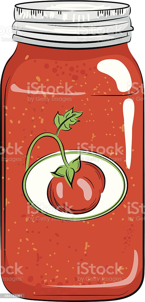 Color Canning Jar with Tomato vector art illustration