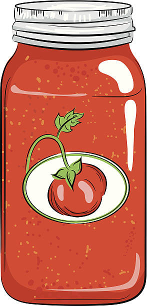 Color Canning Jar with Tomato A colored version of my canning jar. tomato sauce stock illustrations