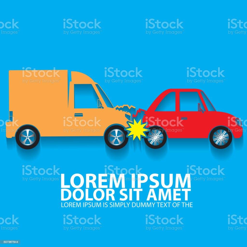 Color car crash accident in back side mode vector art illustration