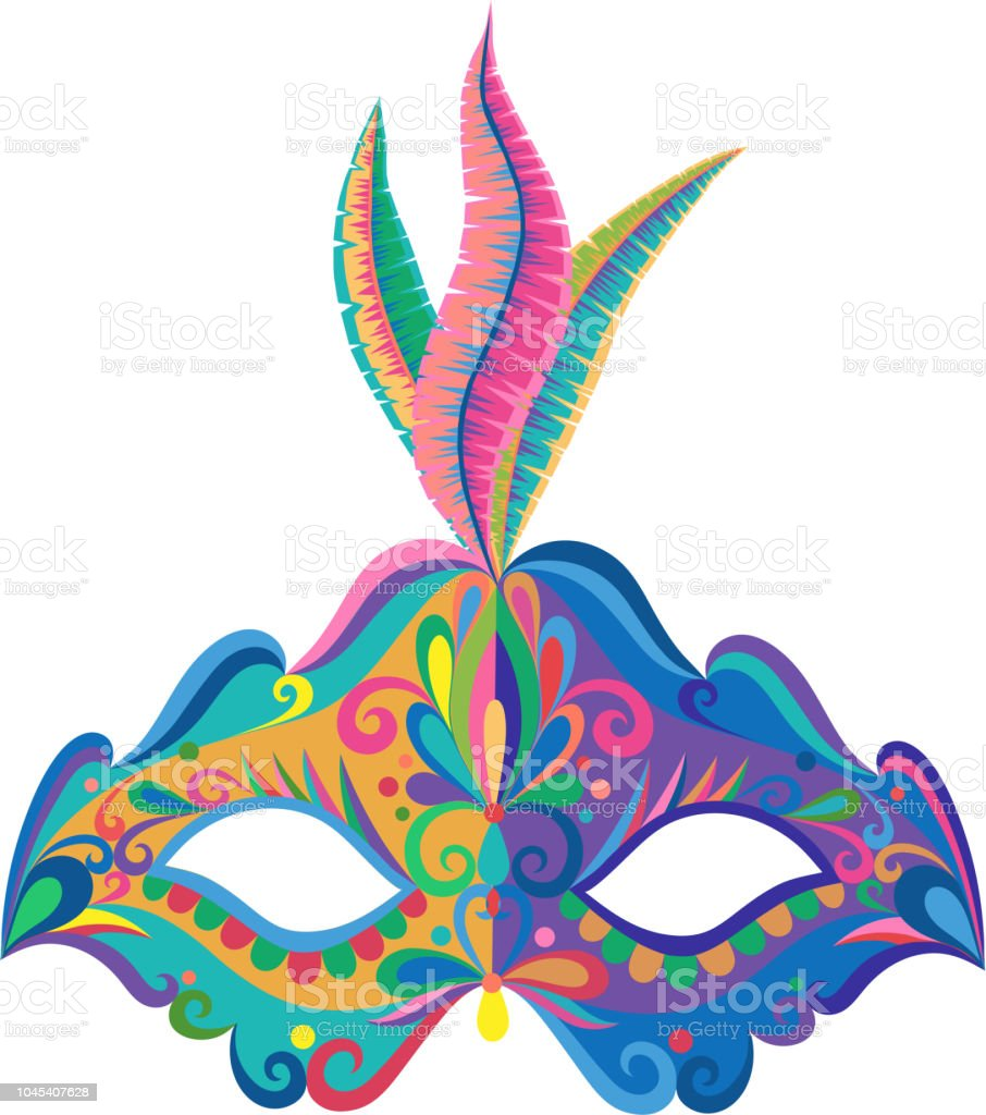 color carnival mask isolated on white background stock vector art