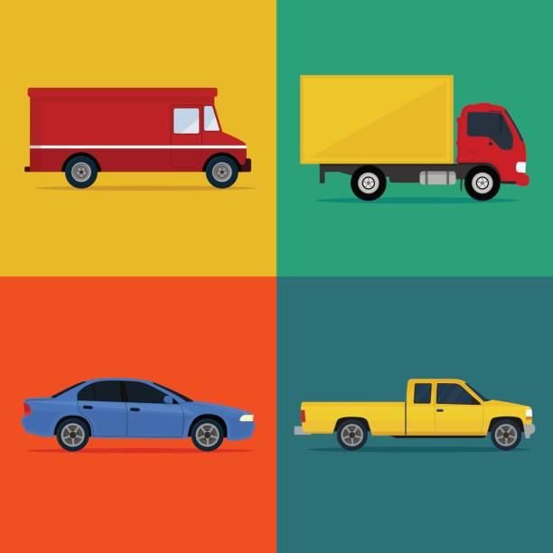color cars icon set. - caravan stock illustrations