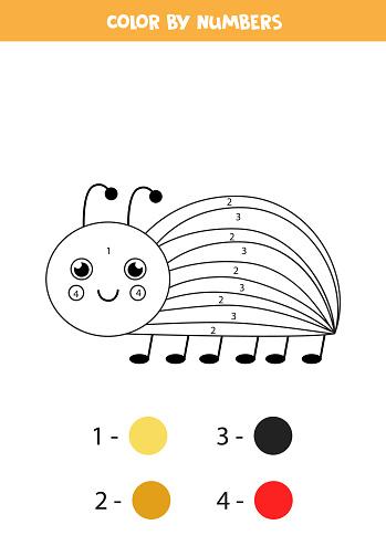 Color cartoon Colorado bug by numbers. Worksheet for kids.