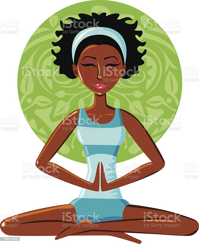 Color cartoon of black woman meditating over green circle royalty-free color cartoon of black woman meditating over green circle stock vector art & more images of adult
