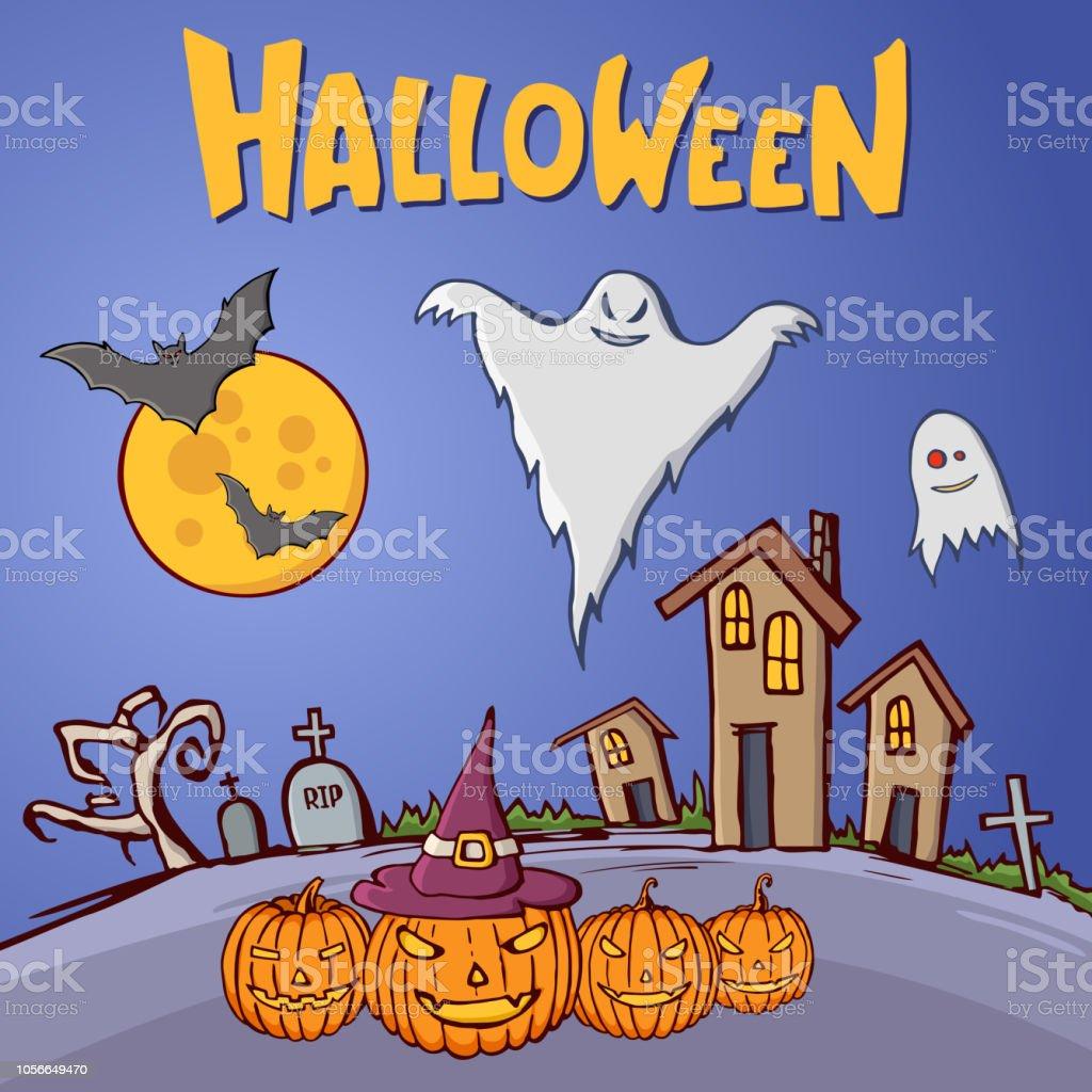 Color Cartoon Shapes On Halloween Theme Royalty Free Color Cartoon Shapes On Halloween Theme