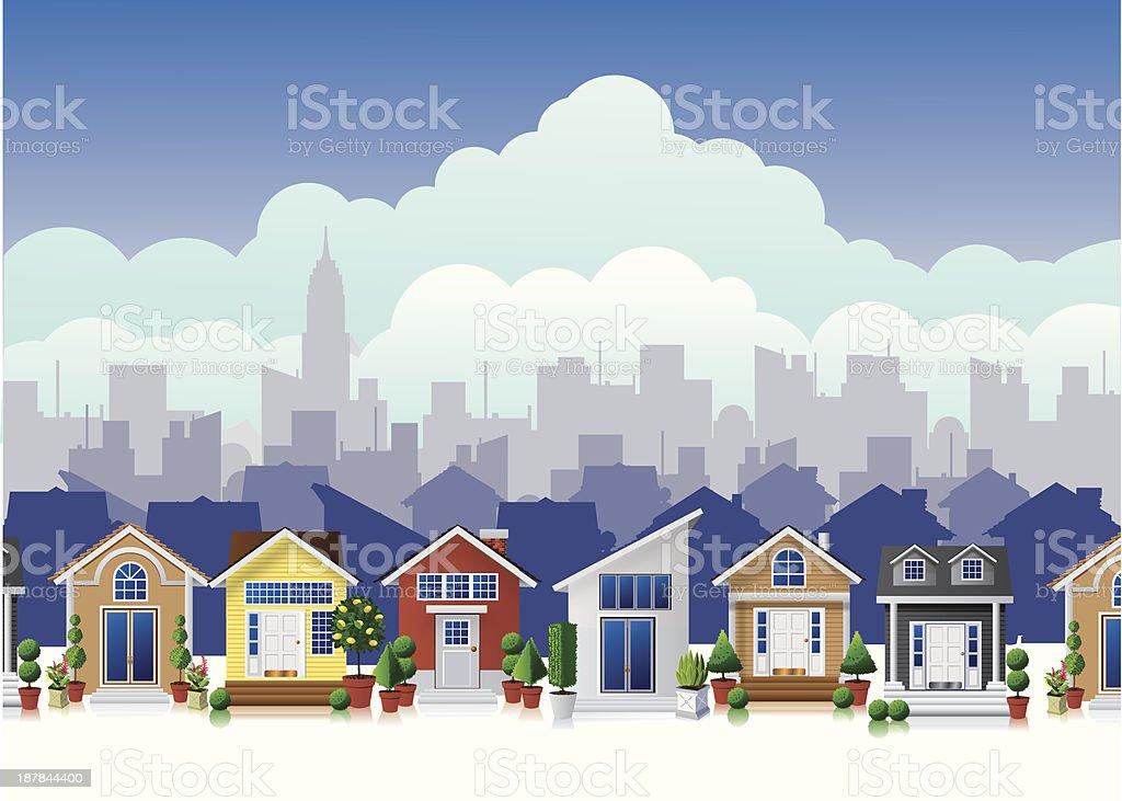Color cartoon town vector art illustration