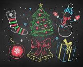 Color chalked Christmas set.
