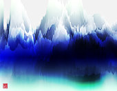 color Chinese mountains and waters painting landscape pattern background