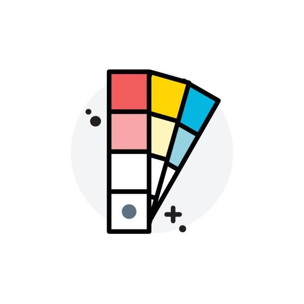 chips-farbkonzept isolierten linie vektor-illustration editierbare symbol - farbchips stock-grafiken, -clipart, -cartoons und -symbole