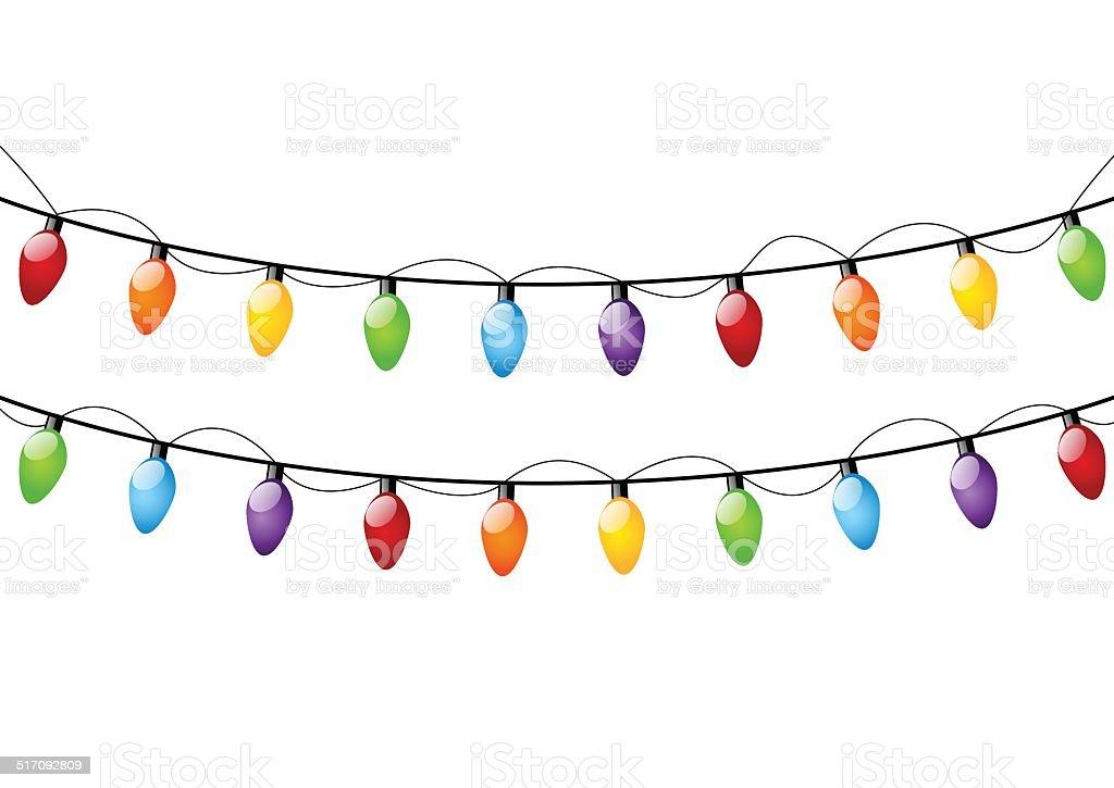 Bombillas de navidad de Color blanco - ilustración de arte vectorial