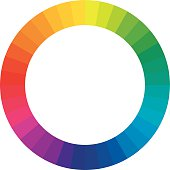 Vector illustration of a color circle/wheel with 36 hues (rainbow colors) on a white background.