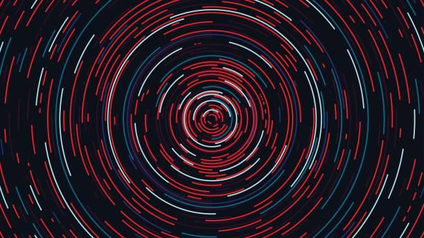 stockillustraties, clipart, cartoons en iconen met kleur cirkel cyber tunnel, futuristische abstracte achtergrond, vectorillustratie - ronddraaien
