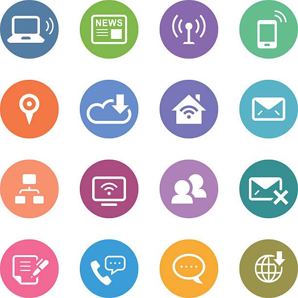 백색과 서클 아이콘 세트/통신 - home icon stock illustrations
