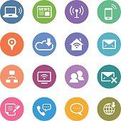 Color Circle Icons Set   Communication