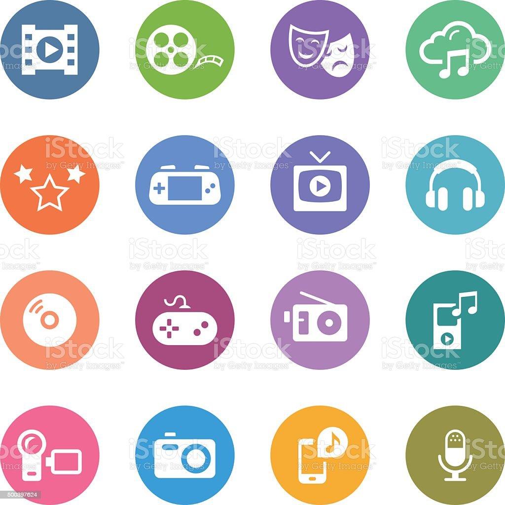 Color Circle Icons Set   Entertainment vector art illustration