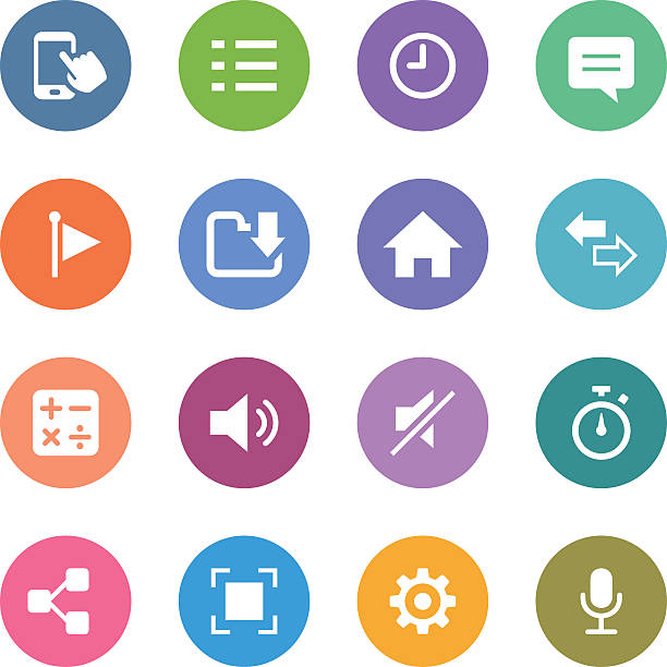 백색과 서클 아이콘 세트/mobile apps - home icon stock illustrations