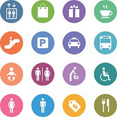 An illustration of public & shopping mall icons set for your web page, presentation, & design products.