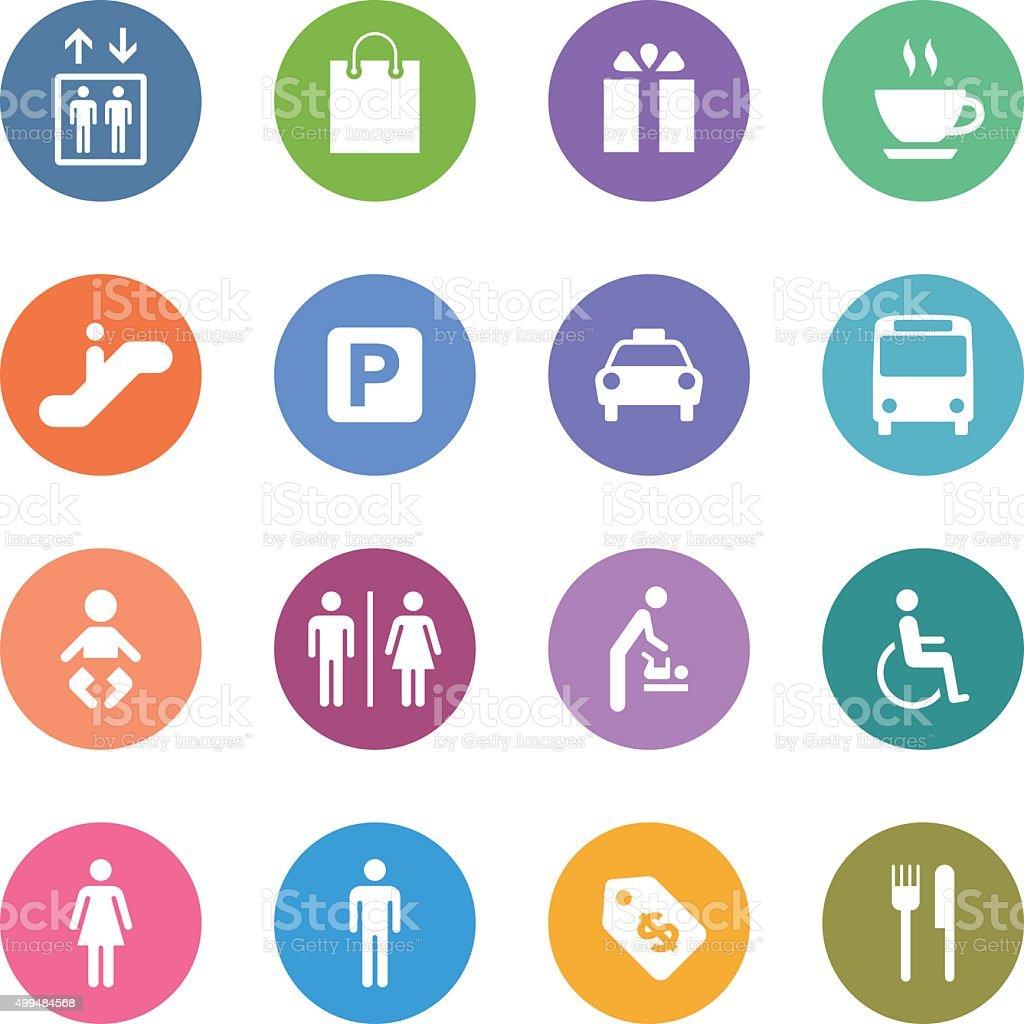 Color Circle Icons Set | Public & Shopping Mall vector art illustration