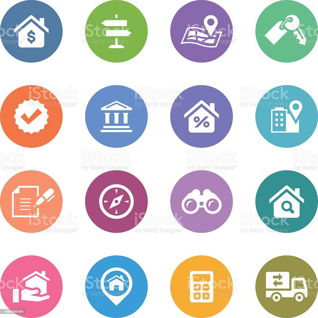 Color Circle Icons Set | Real Estate vector art illustration