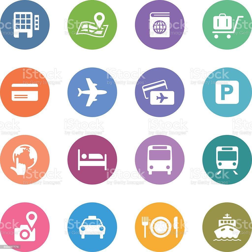 Color Circle Icons Set | Travel vector art illustration