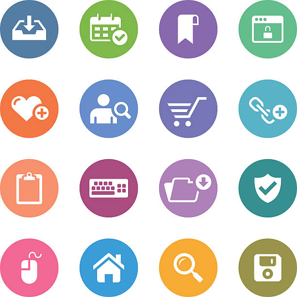 백색과 서클 아이콘 세트/웹 & 인터넷 - home icon stock illustrations