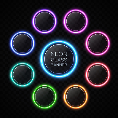 Color circle neon buttons set with light effect. Glossy glass texture banner with glare on black background. Round glowing sign for web interface infographic internet sites report. Vector illustration