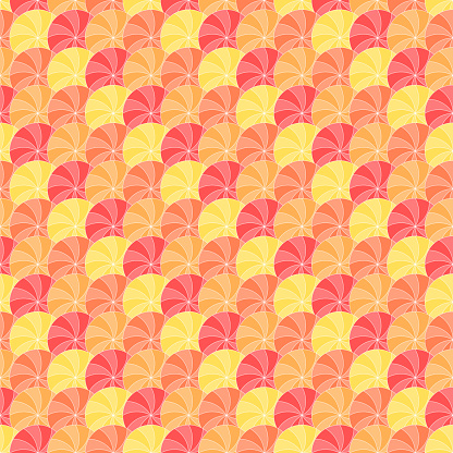 color circles divided on sectors. vector seamless pattern. stylized orange. repetitive background. fabric swatch. wrapping paper. continuous print. geometric shapes. design element for decor, textile