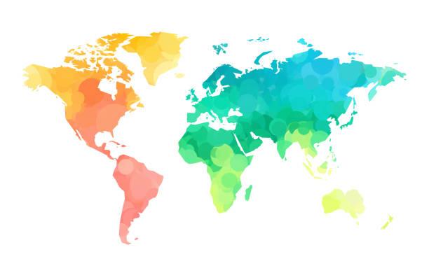 color circles world map pattern vector art illustration