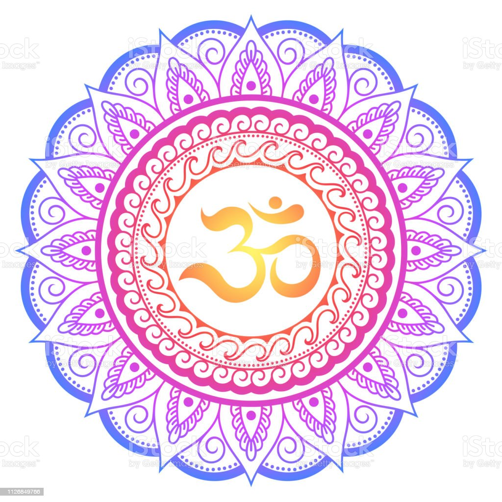 f00d1959b Color Circular pattern in form of mandala with ancient Hindu mantra OM and  lotus flower for Henna, Mehndi, tattoo, decoration.