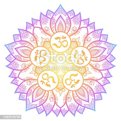 Color Circular pattern in form of mandala with ancient Hindu mantra OM and lotus flower for Henna, Mehndi, decoration. Decorative ornament in oriental style. Rainbow design on white background.