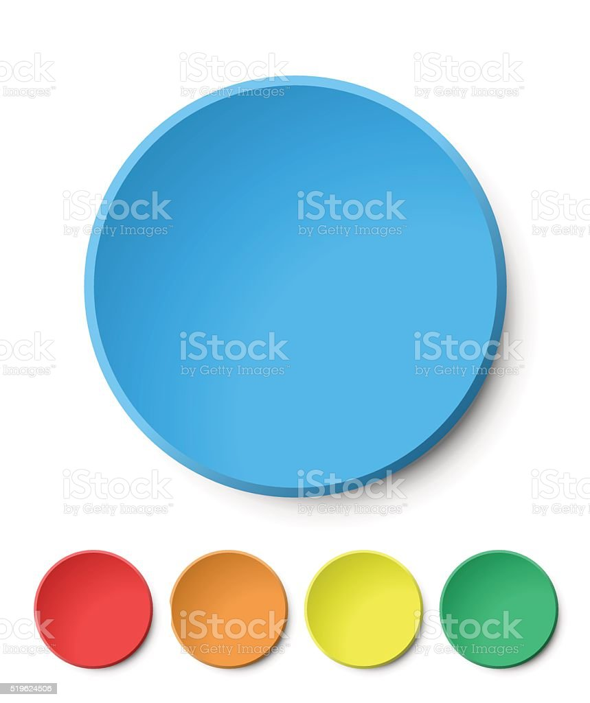 Color Circular Plastic Button on White Background. vector art illustration