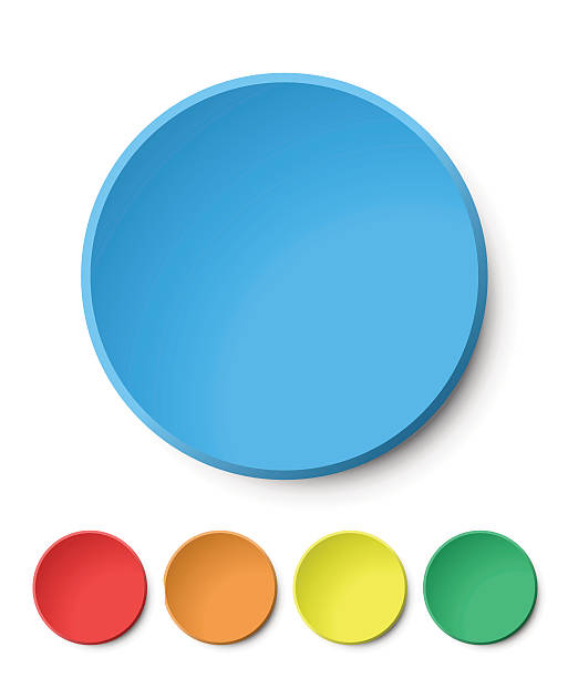 Color Circular Plastic Button on White Background. Vector Elements. blue icons stock illustrations