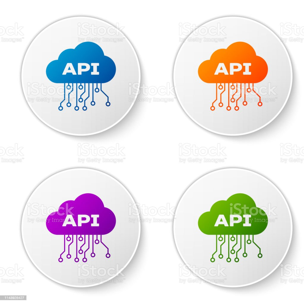 Color Cloud Api Interface Icon Isolated On White Background