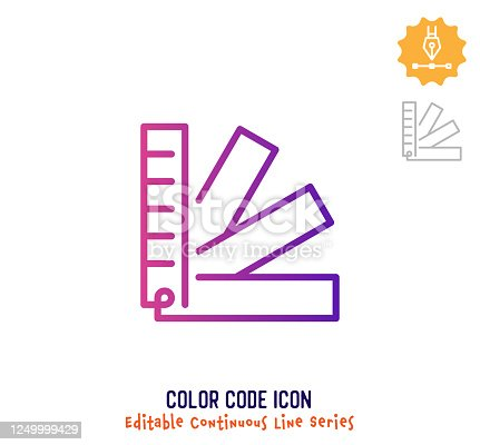 istock Color Code Continuous Line Editable Icon 1249999429