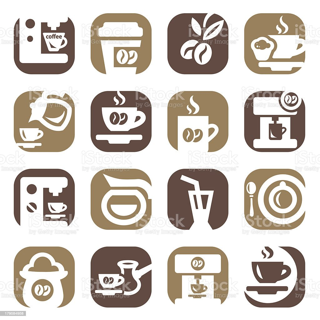 color coffee icons set royalty-free stock vector art