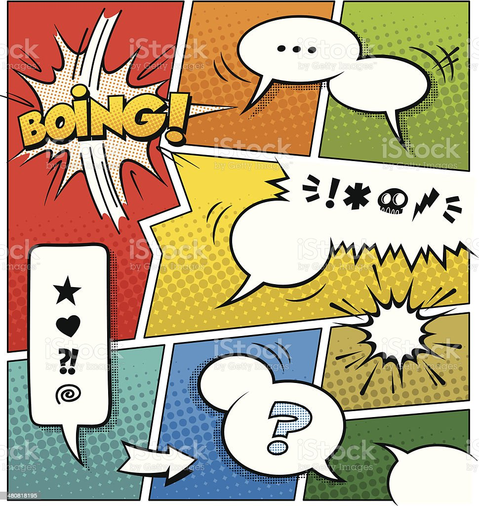 Modèle de Page de bande dessinée de couleur - clipart vectoriel de Ballon de baudruche libre de droits