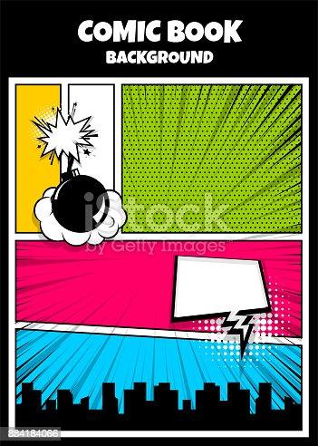 istock Color comics book cover vertical backdrop 884184066