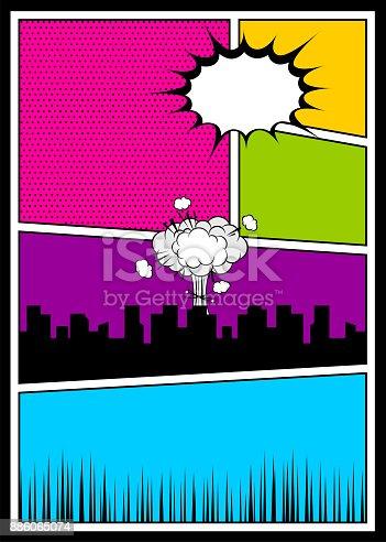 istock Color comics book cover vertical backdrop 886065074