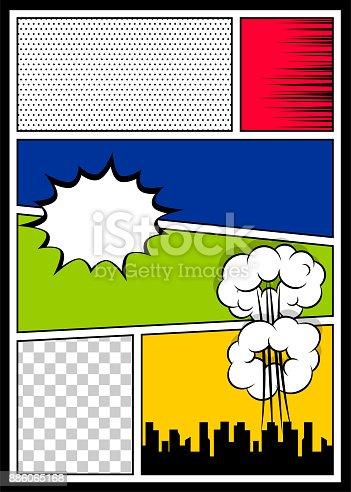 istock Color comics book cover vertical backdrop 886065168