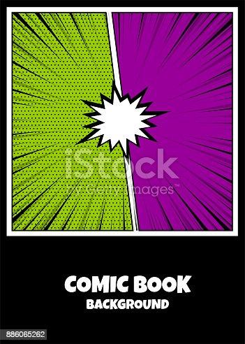 istock Color comics book cover vertical backdrop 886065262