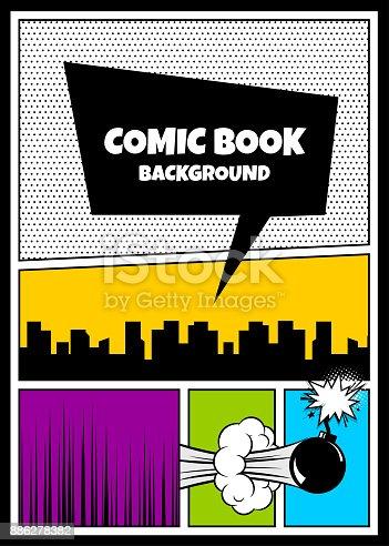 istock Color comics book cover vertical backdrop 886278382