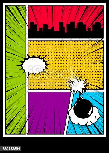 istock Color comics book cover vertical backdrop 889133894