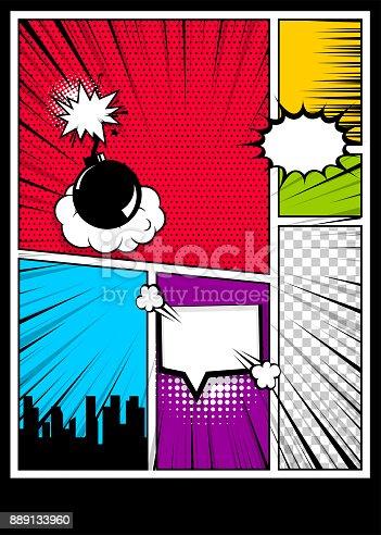 istock Color comics book cover vertical backdrop 889133960