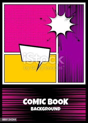 istock Color comics book cover vertical backdrop 889134044