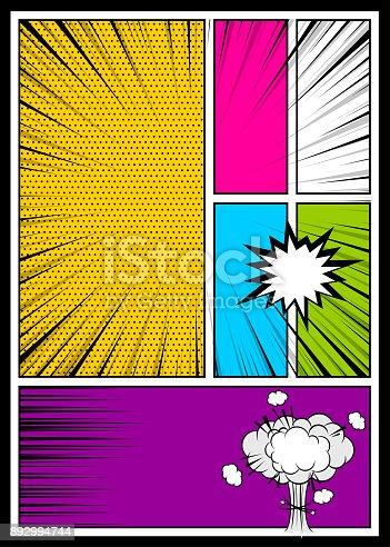 istock Color comics book cover vertical backdrop 892994744
