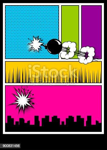 istock Color comics book cover vertical backdrop 900831456