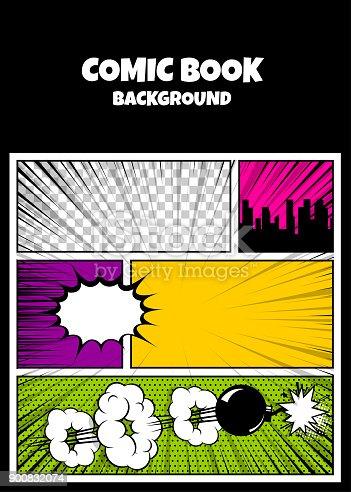 istock Color comics book cover vertical backdrop 900832074
