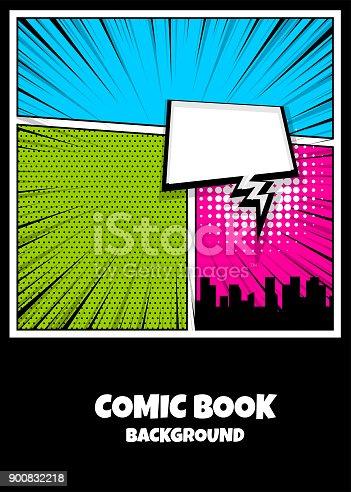istock Color comics book cover vertical backdrop 900832218
