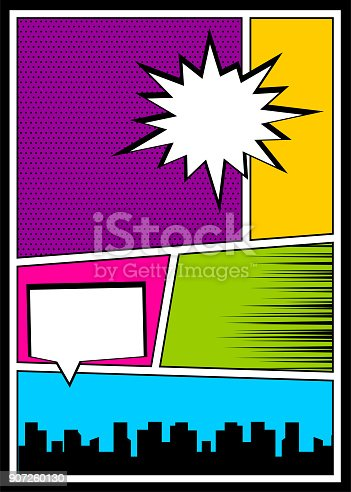 istock Color comics book cover vertical backdrop 907260130