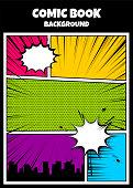 Blank humor graphic. Pop art comics book magazine cover template. Cartoon funny vintage strip comic superhero, text speech bubble balloon, box message, burst bomb. Vector colored halftone illustration