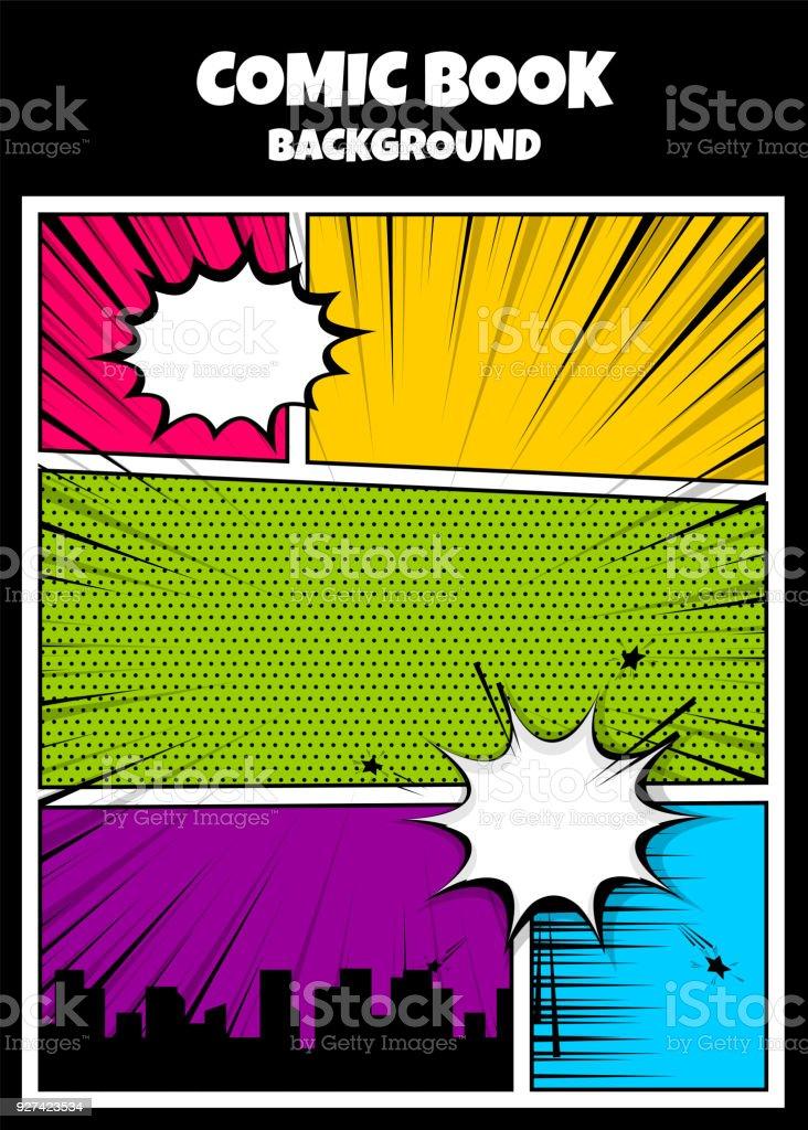 Color comics book cover vertical backdrop vector art illustration